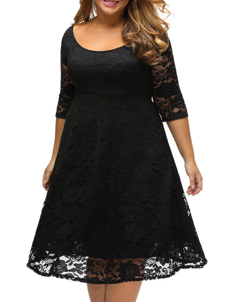 Classical Scoop Neck Hollow Out Plain Lace Plus Size Flared Dress - Bychicstyle.com