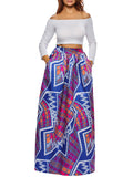 ByChicStyle Fantastic Geometric Printed Pocket Flared Plus Size Skirt - Bychicstyle.com