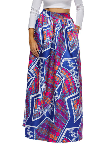 Fantastic Geometric Printed Pocket Flared Plus Size Skirt - Bychicstyle.com