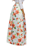 ByChicStyle Charming Pocket Floral Printed Flared Plus Size Skirt - Bychicstyle.com