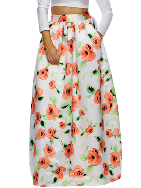 Charming Pocket Floral Printed Flared Plus Size Skirt - Bychicstyle.com