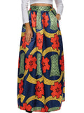 ByChicStyle Color Block Printed Flared Elastic Waist Plus Size Skirt - Bychicstyle.com