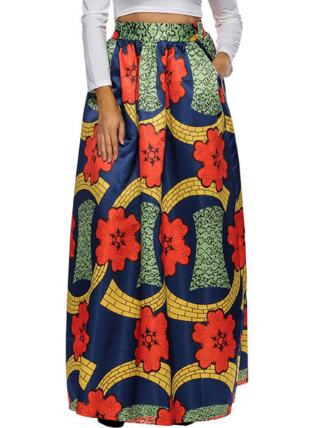 Color Block Printed Flared Elastic Waist Plus Size Skirt - Bychicstyle.com