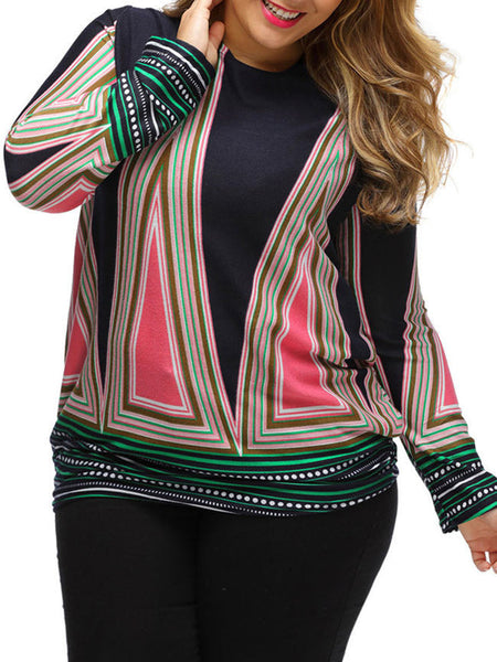 Long Sleeve Color Block Striped Crew Neck Plus Size T-Shirt - Bychicstyle.com