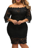 ByChicStyle Solid Lace Off Shoulder Hollow Out Plus Size Bodycon Dress - Bychicstyle.com
