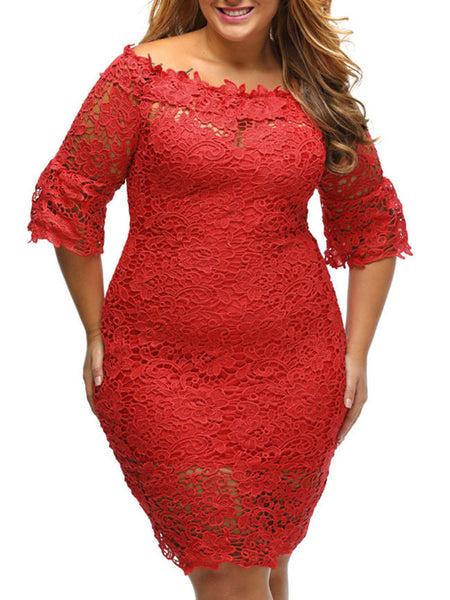 Solid Lace Off Shoulder Hollow Out Plus Size Bodycon Dress - Bychicstyle.com