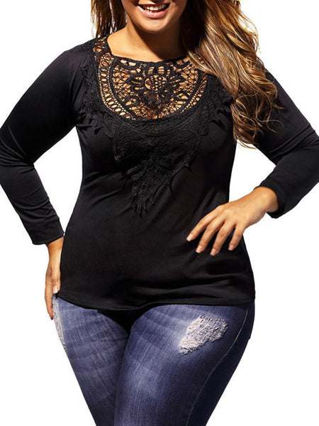 Long Sleeve See-Through Back Hole Solid Plus Size T-Shirt - Bychicstyle.com