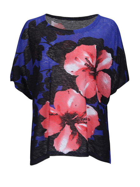 Casual Loose Color Block Floral Plus Size T-Shirt - Bychicstyle.com