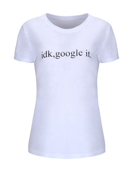 Simple Letters Printed Round Neck Short Sleeve T-Shirt - Bychicstyle.com