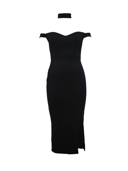 Solid Off Shoulder Slit Midi Bodycon Dress - Bychicstyle.com