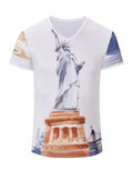 ByChicStyle Short Sleeve V-Neck Statue Of Liberty Printed T-Shirt - Bychicstyle.com