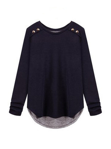 Casual Round Neck Decorative Button Plain Casual T-Shirt