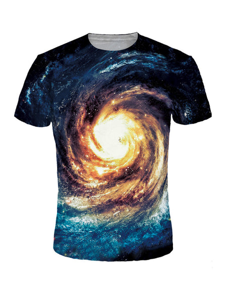 Short Sleeve Crew Neck Space Printed T-Shirt - Bychicstyle.com