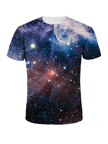 Crew Neck Galaxy Printed T-Shirt - Bychicstyle.com