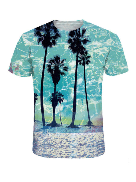 Casual Crew Neck Trees Beach Printed T-Shirt - Bychicstyle.com