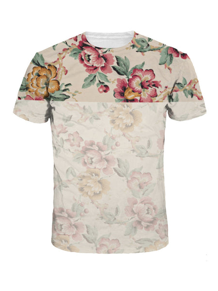 Suitable Trendy Crew Neck Floral Printed T-Shirt - Bychicstyle.com