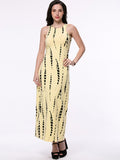 ByChicStyle Casual Back Hole Printed Sleeveless Round Neck Maxi Dress