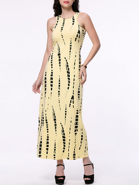 Casual Back Hole Printed Sleeveless Round Neck Maxi Dress