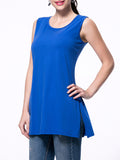 ByChicStyle Solid Round Neck Side-Vented Sleeveless T-Shirt - Bychicstyle.com