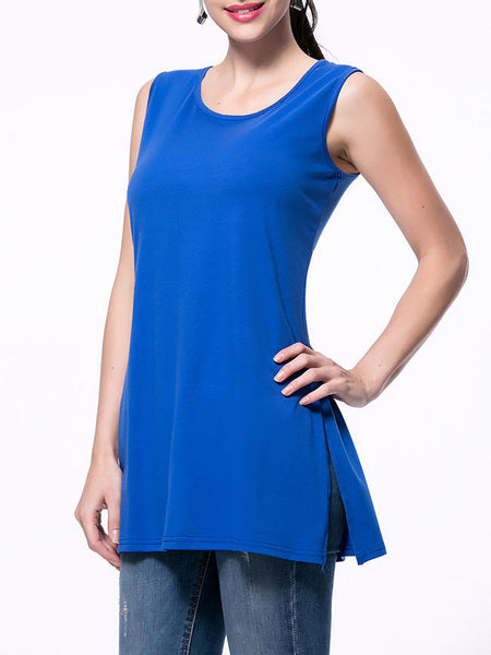 Solid Round Neck Side-Vented Sleeveless T-Shirt - Bychicstyle.com