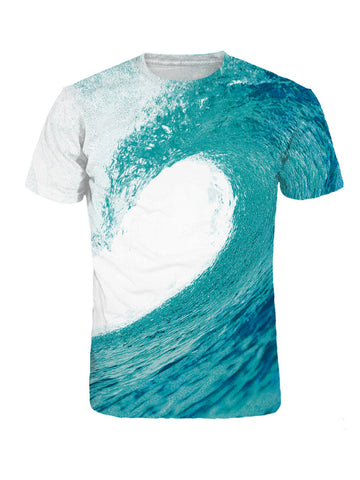 Casual Attractive Crew Neck Sea Wave Printed T-Shirt