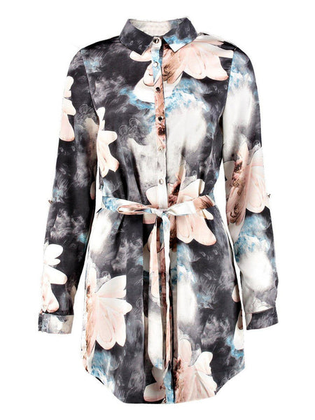 Casual Turn Down Collar Floral Long Blouse