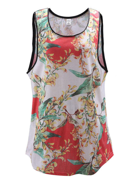 Round Neck Contrast Trim Floral Camisole - Bychicstyle.com