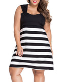 ByChicStyle Black White Color Block Striped Plus Size Flared Dress - Bychicstyle.com