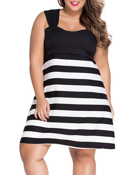 Black White Color Block Striped Plus Size Flared Dress - Bychicstyle.com