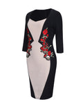 ByChicStyle Sweet Heart Color Block Embroidery Patch Bodycon Dress - Bychicstyle.com