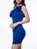 ByChicStyle Casual Designed One Shoulder Tiered Solid Bodycon Dress