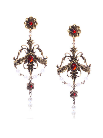 Casual Baroque Palace Vintage Rhinestone Encrusted Cross Earring