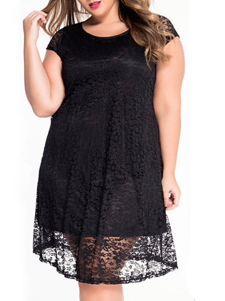 Classic Solid Hollow Out Lace Plus Size Flared Dress - Bychicstyle.com
