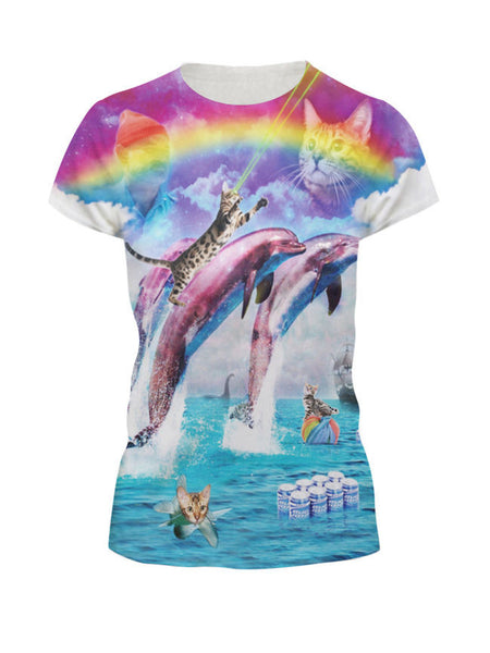 Round Neck Colorful Scenery Printed Short Sleeve T-Shirt - Bychicstyle.com