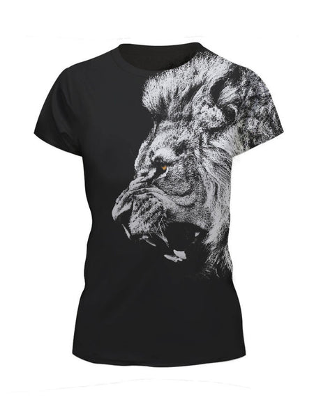 Round Neck Lion Printed Short Sleeve T-Shirt - Bychicstyle.com