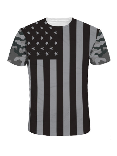 Camouflage US Flag Printed Round Neck T-Shirt - Bychicstyle.com