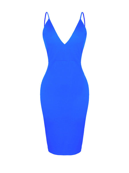 Sexy Spaghetti Strap Backless Solid Bodycon Dress - Bychicstyle.com