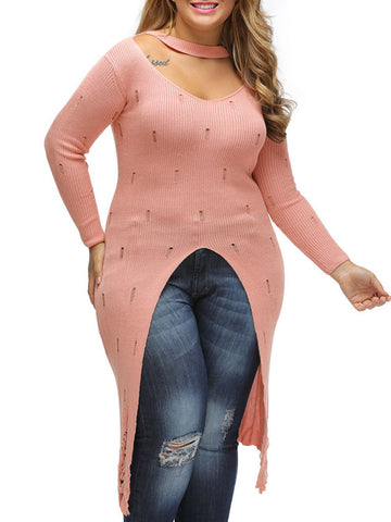 Casual Distressed Cutout Vented Solid Longline Plus Size Sweater