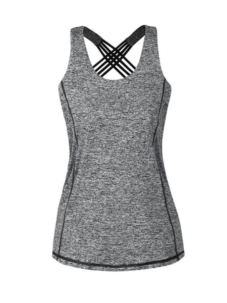 Casual X-Back Workout Round Neck Sleeveless T-Shirt