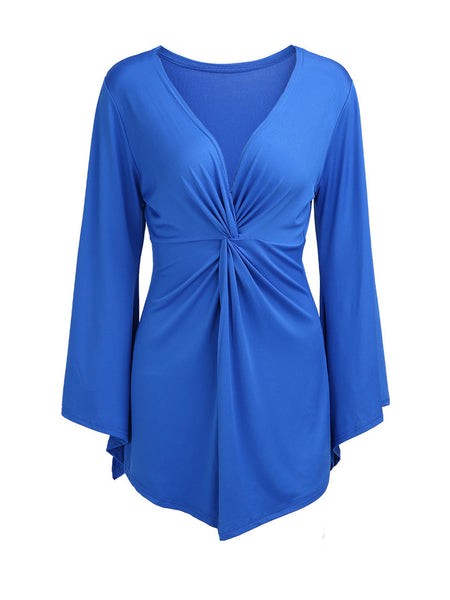 Ruched Deep V-Neck Bell Sleeve Plus Size T-Shirt In Blue - Bychicstyle.com