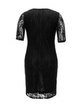 ByChicStyle Leopard Patchwork See-Through Plus Size Bodycon Dress - Bychicstyle.com