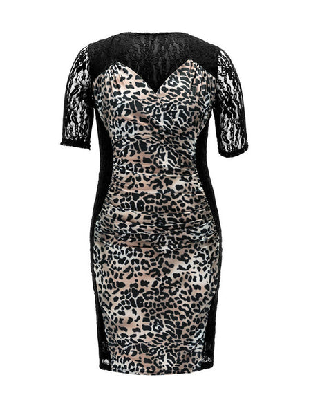 Leopard Patchwork See-Through Plus Size Bodycon Dress - Bychicstyle.com