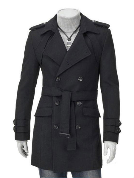 Classical Lapel Double Breasted Plain Men Coat With Flap Pocket - Bychicstyle.com