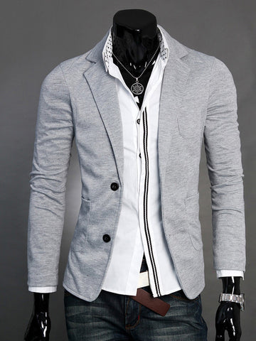 Skinny Patch Pocket Notch Lapel Solid Men Blazer - Bychicstyle.com