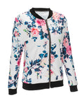 ByChicStyle Casual Band Collar Bomber Jacket In Floral Printed