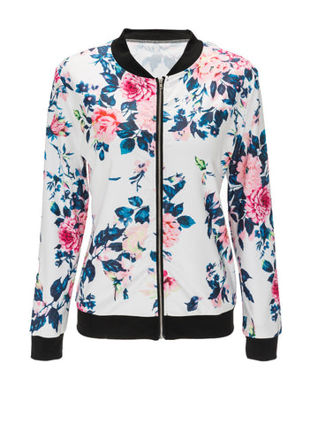Casual Band Collar Bomber Jacket In Floral Printed