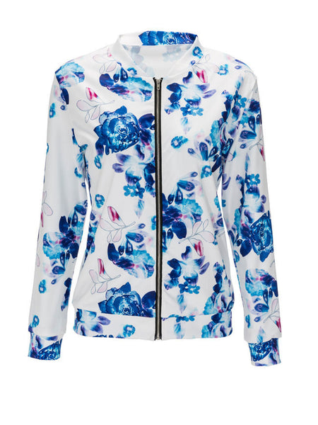 Floral Printed Band Collar Bomber Jacket - Bychicstyle.com