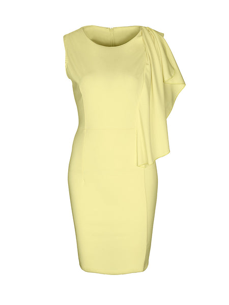 Unique Cascading Ruffle Solid Round Neck Bodycon Dress - Bychicstyle.com