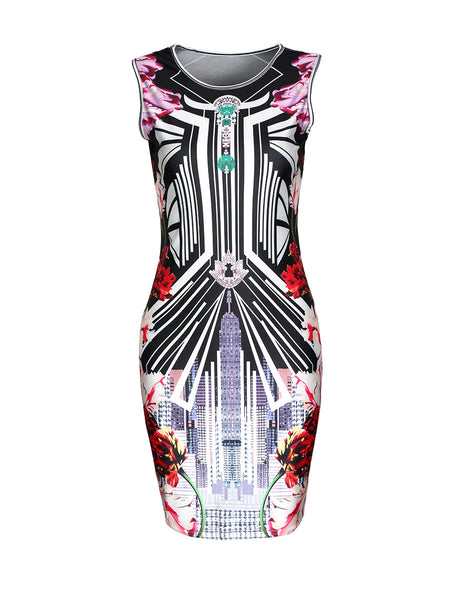 Sleeveless Round Neck Printed Bodycon Dress - Bychicstyle.com