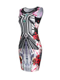 ByChicStyle Sleeveless Round Neck Printed Bodycon Dress - Bychicstyle.com